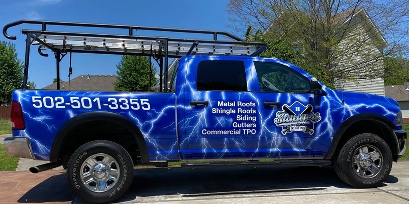 Sluggers Roofing Trucks. Like our trucks? You should see our roofs!
