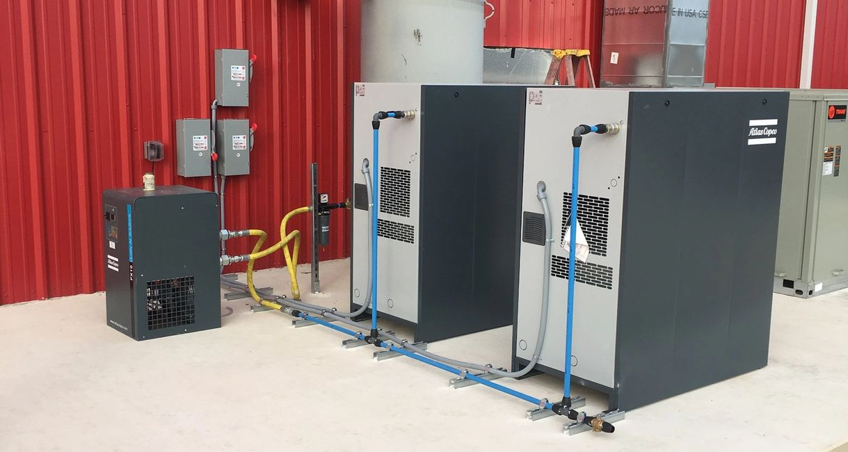 Atlas Copco Air compressors, Nordson Powder coat equipment, GS MFG FRP equipment and paint booths