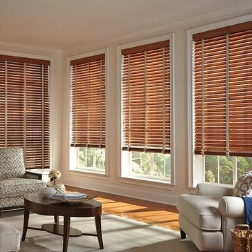 Custom blinds and Window Treatment showroom wooden blinds