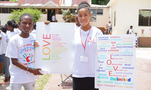 Children showing manifesto