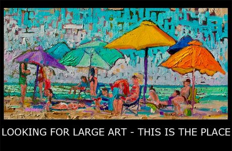colorful beach umbrellas, people, mosaic style, large, big art to 10 ft www.theheardgallery.com