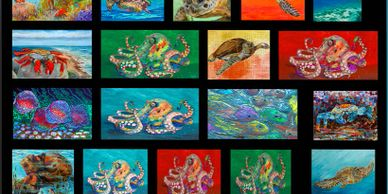 sea turtles, octopus, crabs, paintings , prints and beach home, colorful art, big, large, small