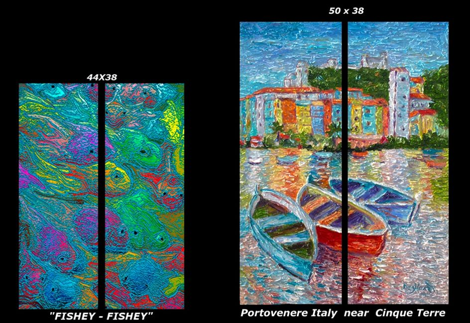 Abstract, fish, school, red, blue, green, yellow, orange, 2-piece, diptych, www.theheardgallery.com