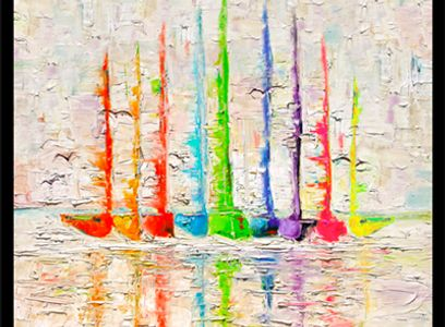 pallett knife painting , colorful sailboats, large wall  art  www.theheardgallery.com
