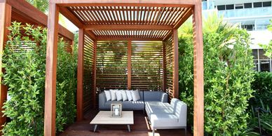 Ipe Cabana in Fort Lauderdale and Miami. Pergola in Flort Lauderdale.