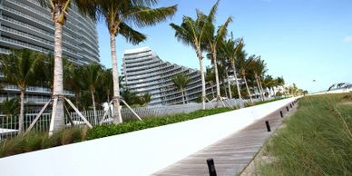 Beach boardwalk Fort Lauderdale.  IPE decking and boardwalk Miami