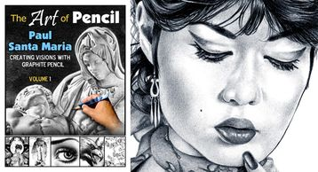 Cover and sample from Art of Pencil by artist Paul Santa Maria