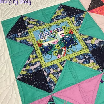 Quilt Stitching by Shelly Cross Your Heart pattern by Stephanie Soebbing. Custom quilting.