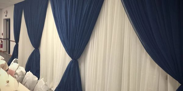 navy wedding, pipe and drape, wedding backdrops Indiana, weddings Sunman, St. Leon