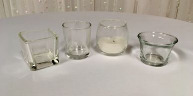 Round, Square, Curved and Oyster Votive Holders $1 each including real votive candle