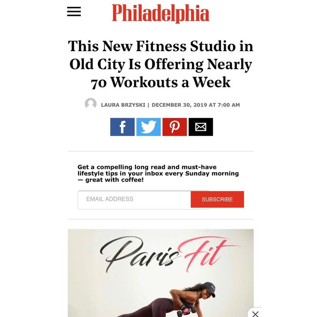 Paris Fit Studios made their debut in the Philadelphia Magazine !!! Check it out !