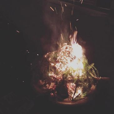 A campfire at night. sparks fly up above the fire and evergreen boughs are burning.