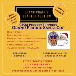 Grand Prairie Quarter Auction at the Ruthe Jackson Center will take place Wednesday, October 3rd 201