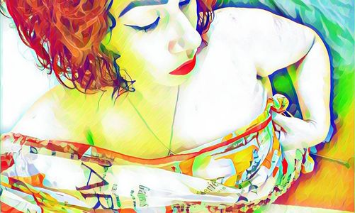 Bright colors used as a way to express emotions with a self portrait of Lucia Vasquez.