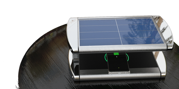 Re-charge Solar powered wireless fast charger. Ideal for Hotels and pool bars and any outside event.