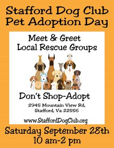 Meet area Rescue Groups and your New Best Friend.  Don't Shop-Adopt  September 28th, 10 am-2pm