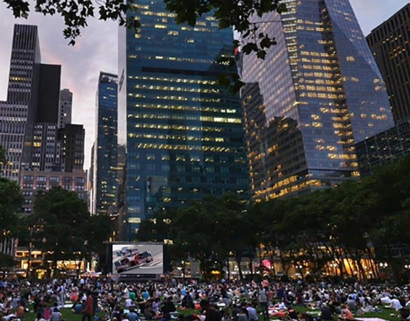 Proposed viewing of F1 race and highlights in Bryant Park.