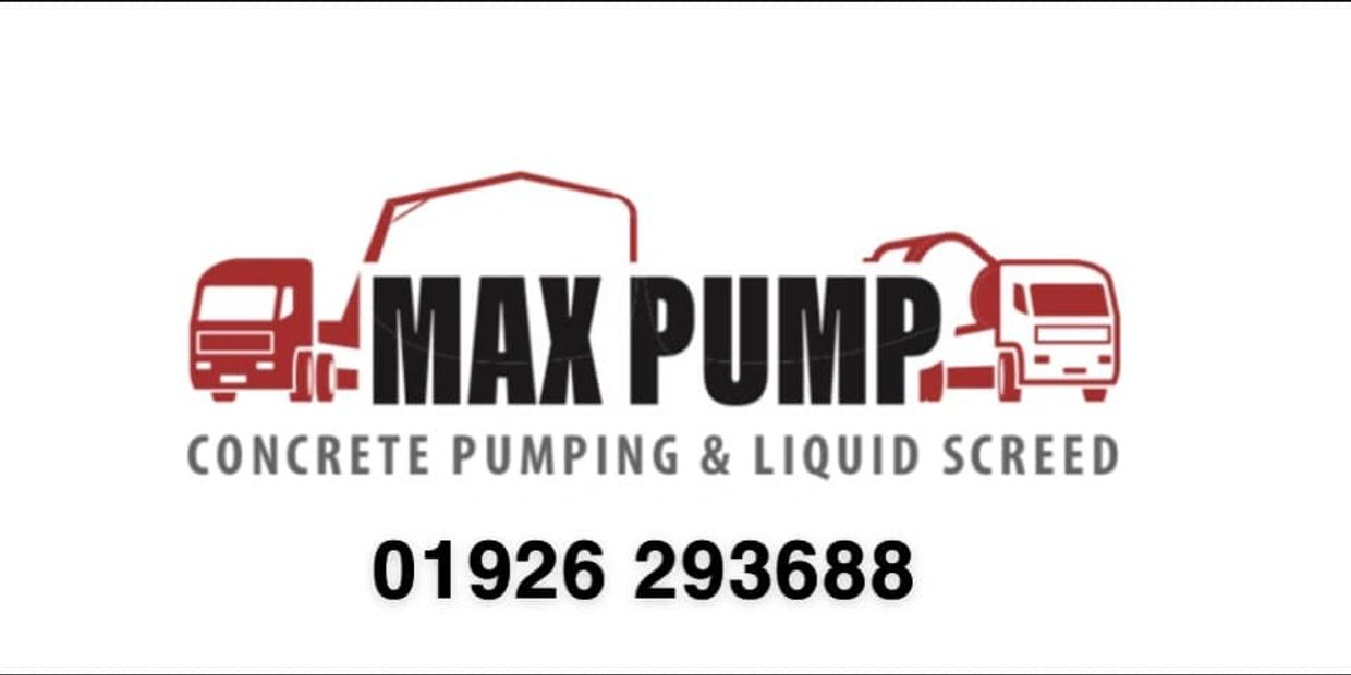 Max Pump concrete pumping and Liquid screed logo, with phone number
