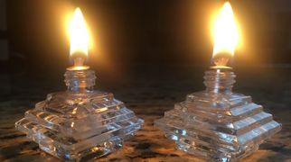 Upcycled one-of-a-kind oil candles, modern, vintage, antique glass bottles. Cool, unique, great gift