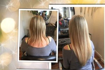 Before and After Hair Extensions. Straight style and Curled style.  Keratin bonded extensions