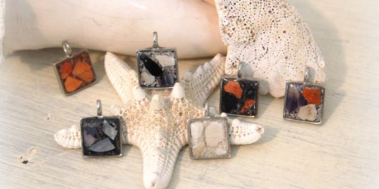"""Hand Poured"" Pewter square pendants"