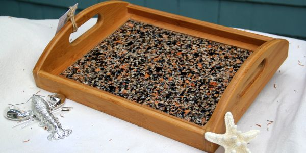 Serving tray with mussel & lobster shell
