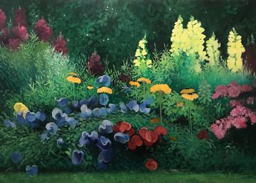Fine art floral oil painting for sale.