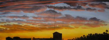 Fine art oil painting for sale. Galveston, Texas, sunset painting.