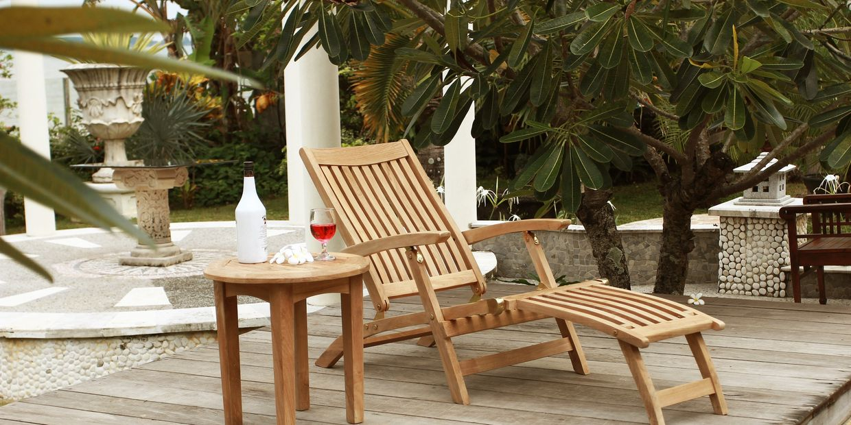 Teak Outdoor Patio Furniture - Steamer and Adirondack Chairs