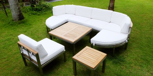 Teak and Marine Grade Steel Outdoor Patio Furniture - Couch Style Deep Seating