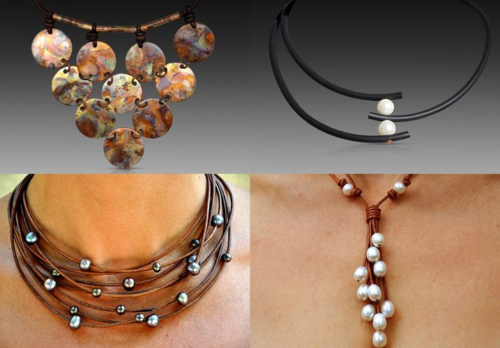 Jewelry designs by Christine Chandler.  Leather Jewelry combinations of Pearls, Leather, Copper ...