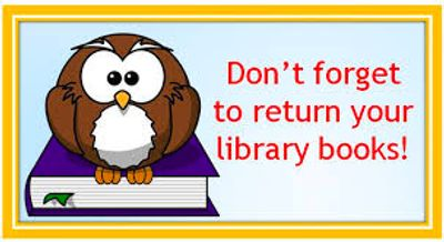 Cartoon owl sitting on blue book with text Don't Forget to Return Your Library Books.
