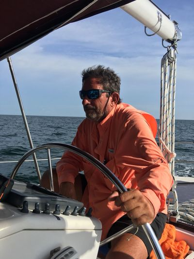 Capt Bill on a sailboat delivery