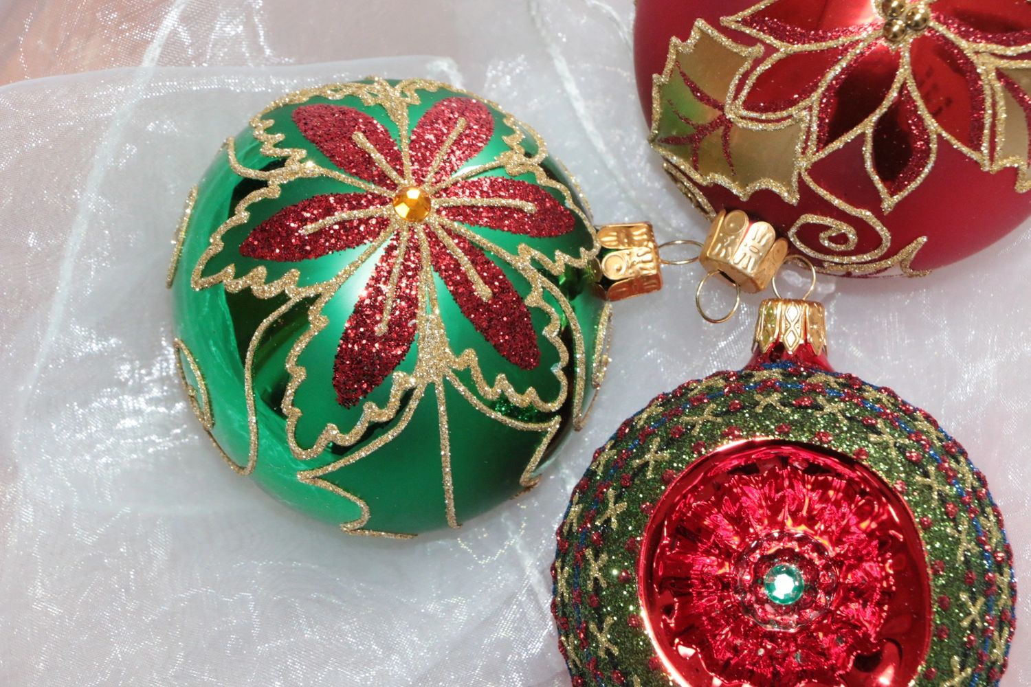 Christmas ornaments made of glass in Czech Republic and Slovakia, hand-blown and hand-painted.