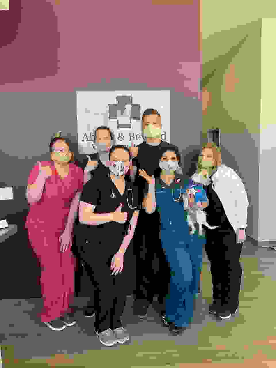 Dr. Cupples and Dr. Pirela with some our support staff in our veterinary hospital