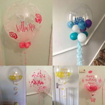 Personalised bubbles can include small balloons, confetti or tulle , any message or icon