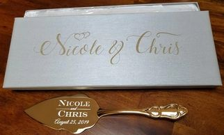 Wedding Cake Server and Knife Set Engraved Gold Tone Server Gold Plated Traditional Cake Server and Knife Cutting Custom