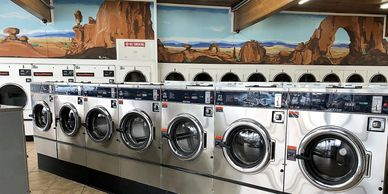 Laundromat offers 30 pound washing machines, 20 pound washing machines to get your clothes clean