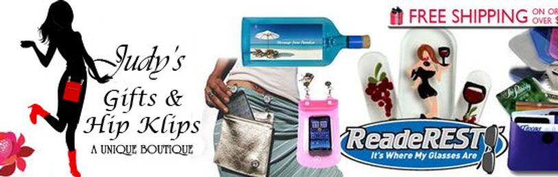 Judy's Gifts offers: Hip Klips,  Crystal Glass Nail Files, EMF & RFID protection Hip Klips & Mini-Po