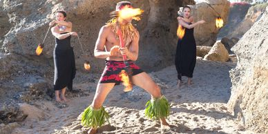 Fire Knife and Fire Poi Balls dancers