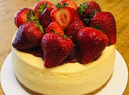 A classic original cheesecake topped with fresh strawberries