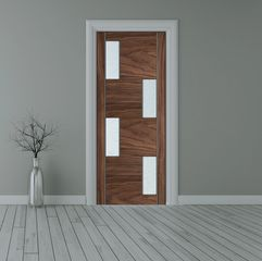 Walnut bespoke glazed door