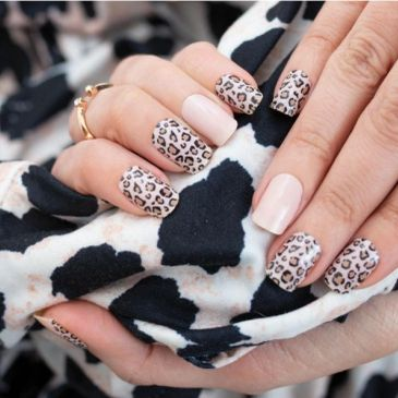 Color Street nails come is a variety of nail art designs.  Shown is Trend Spotted.