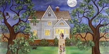 Americana painting and prints for sale of holiday landscape neighborhood Halloween