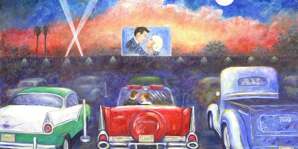 paintings and prints of Americana movie theater, automobile paintings and prints, portrait painting
