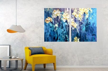 contemporary flower abstract paintings and prints wall art home decor interior design