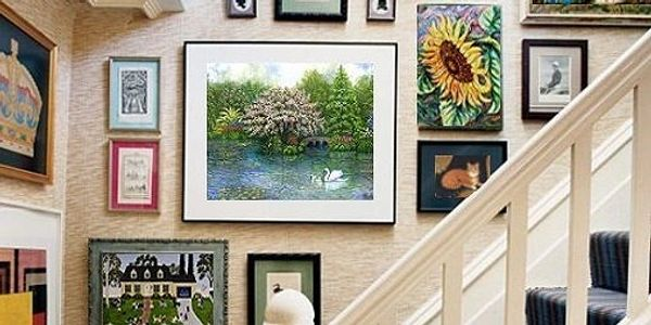Group of Linda Mears fine art paintings and prints wall art for sale displayed on a wall home decor