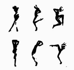 minimalist art, black and white, figures, dancing, home decor, wall art, prints for sale, prints