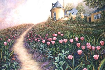 Landscape flower garden painting and fine art prints for sale by Linda Mears