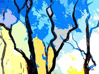 abstract landscape, trees abstract, abstract expressionism, painting, prints, modern art, garden,